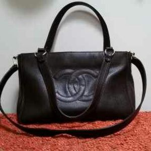 Chanel Caviar leather brown tote